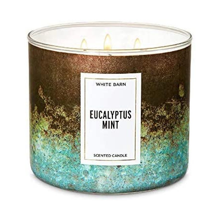 Bath And Body Works EUCALYPTUS MINT Scented 3 Wick Candle White Barn 411g