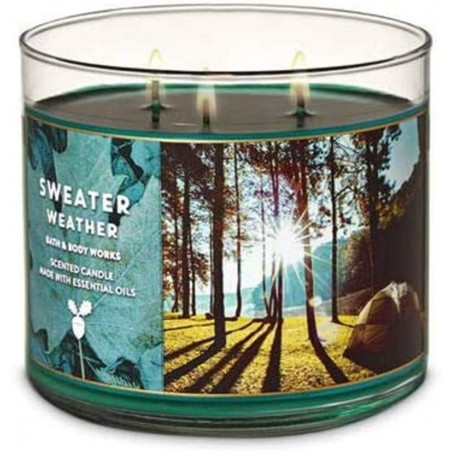 Bath and Body Works Sweater Weather 3-Wick Candle 411g - With Essential Oil