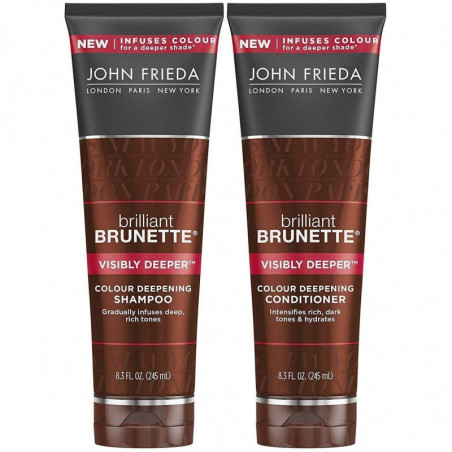 JOHN FRIEDA Brilliant Brunette Visibly Deeper Shampoo and Conditioner 250ml each - More lustrous colour as you cleanse. Go deepe