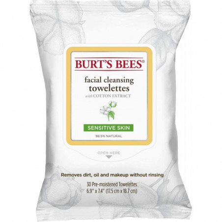 Burt Bees Sensitive Facial Cleansing Towelettes with Cotton Extract - hypoallergenic towelettes wipe away dirt, oil and makeup w