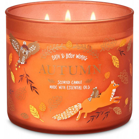 Bath and Body Works Autumn Scented Candle 3-Wick Candle 411g with Essential Oil
