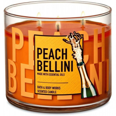 Bath And Body Works A Peach Bellini Scented 3 Wick Candle 411g with Essential Oil