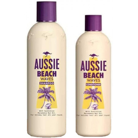 Aussie Beach Waves Shampoo and Conditioner set, 300ml Shampoo + 250ml Conditioner -For weak and frazzled beach hair needing an u