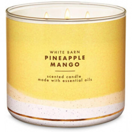 Bath And Body Works PINEAPPLE MANGO Scented 3 Wick Candle with Essential Oil 411g