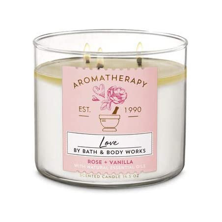 Bath And Body Works LOVE Rose + Vanilla Scented 3 Wick Candle with Essential Oil 411g