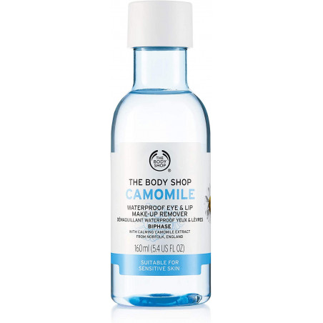 The Body Shop Chamomile Waterproof Eye and Lip Makeup Remover Bi- Phase 160ml with Camomile extract remove all traces of make-up
