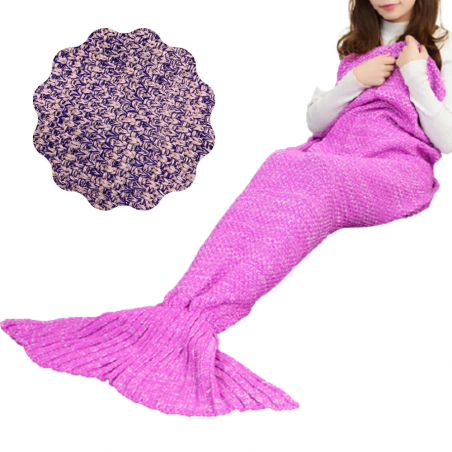 Mermaid Tail Blanket, With Comfortable Calming Effect, High-Quality Cotton (Pink/Violet)