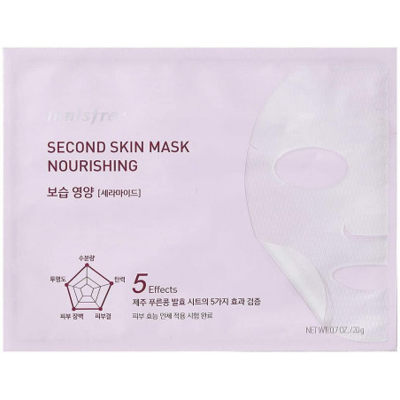 Innisfree Second Skin Mask Nourishing 20g -This is 5-in-1skin-fitting mask made of Jeju fermented soybean is enriched with moist