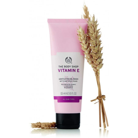 The Body Shop Vitamin E Gentle Facial Wash 125ml - leaves skin feeling clean, soft and refreshed.