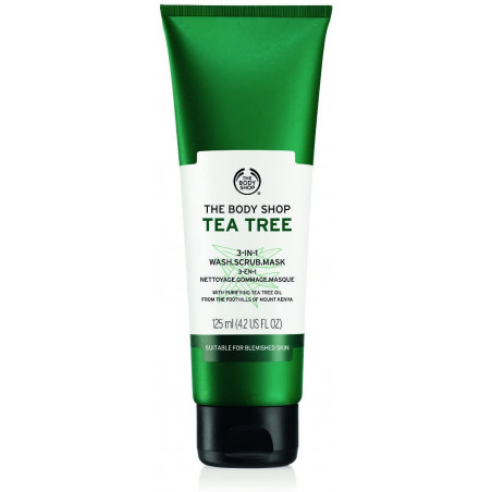 The Body Shop Tea Tree 3-in-1 Wash, Scrub, Mask, 125ml - Suitable for blemished skin with purifying Tea Tree Oil