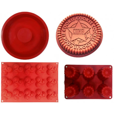 4pcs Red Of Different Shape...