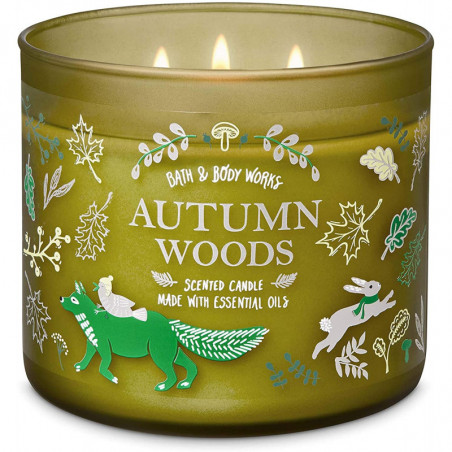 Bath and Body Works Autumn Woods Scented Candle 3-Wick Candle 411g (Green) with Essential Oil