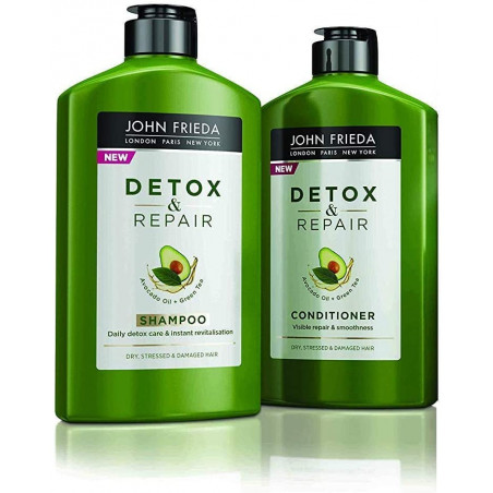 JOHN FRIEDA Detox and Repair Shampoo and Conditioner 250ml each - Instantly purify and revitalise damaged dry hair. Enriched wit