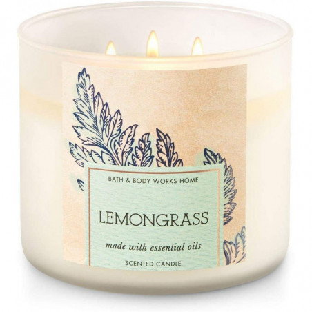 Bath and Body Works 3 Wick Scented Candles Lemongrass 411g