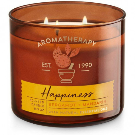 Bath and Body Works Aromatherapy HAPPINESS Scented 3-Wick Candle - scent Bergamot + Mandarin with natural essential oil, 411g