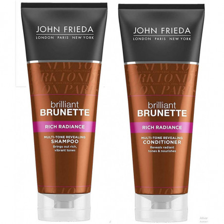 JOHN FRIEDA Brilliant Brunette Rich Radiance Shampoo and Conditioner, 250ml - Boost vibrancy and nourish every strand