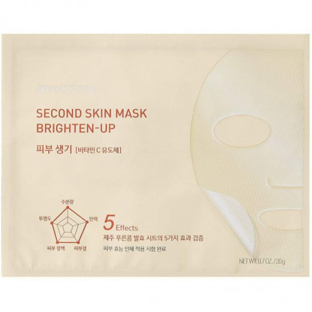 Innisfree Second Skin Mask Brightening 20g-This is 5-in-1 skin-fitting mask made of Jeju fermented soybean is enriched with mois