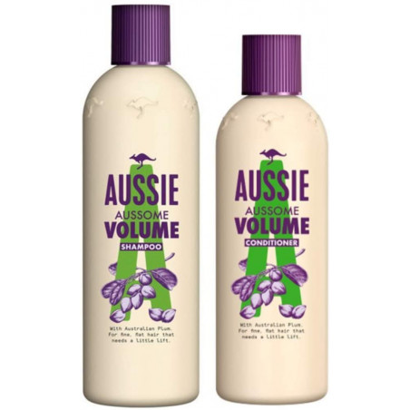 AUSSIE AUSSOME VOLUME SHAMPOO 300ml + CONDITIONER 250ml - with Australian Plum for fine, flat hair that needs a little lift.