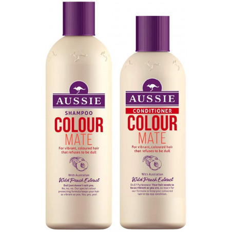 Aussie Colour Mate Shampoo and Conditioner set, 300ml shampoo + 250ml conditioner - for vibrant coloured hair - with Australian