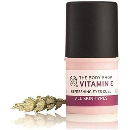 The Body Shop Vitamin E Eyes Cube 4g - Refreshing anti-fatigue eye stick with protective vitamin E and wheatgerm oil.