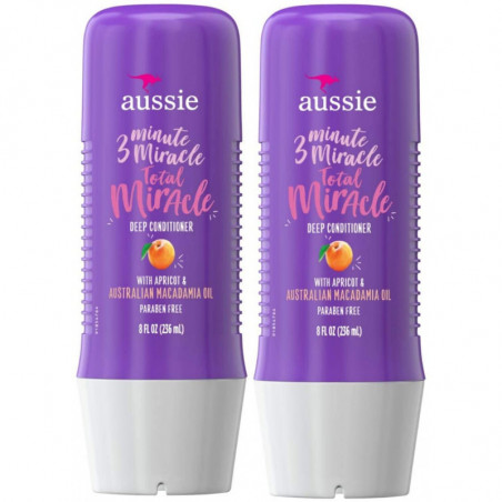Aussie 3 Minute Total Miracle Treatment Deep Conditioner-Bundle Pack of 2- w/Apricot for Damaged Hair + Deep Condition + Paraben