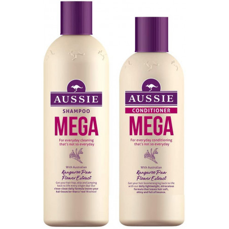 Aussie Mega Shampoo and Conditioner set, 300ml Shampoo + 250ml Conditioner - for everyday cleaning -with Kangaroo Paw Flower ext