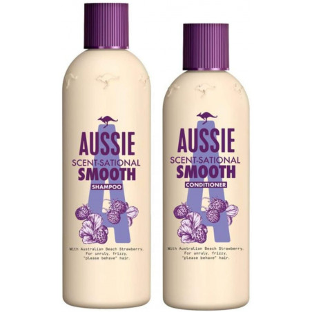 Aussie Scentsational Smooth Shampoo and Conditioner set, 300ml Shampoo + 250ml Conditioner for frizzy hair with Australian Riber