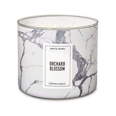 Bath And Body Works ORCHARD BLOSSOM Scented 3 Wick Candle White Barn 411g