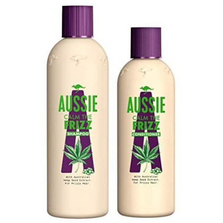 Aussie Calm The Frizz Shampoo 300ml And Conditioner 250ml - With Austrilian Hemp Seed Extract for Frizzy Hair