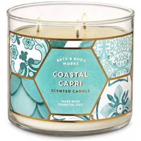 Bath and Body Works Coastal Capri Scented Candle 3-Wick Candle 411g with Essential Oil