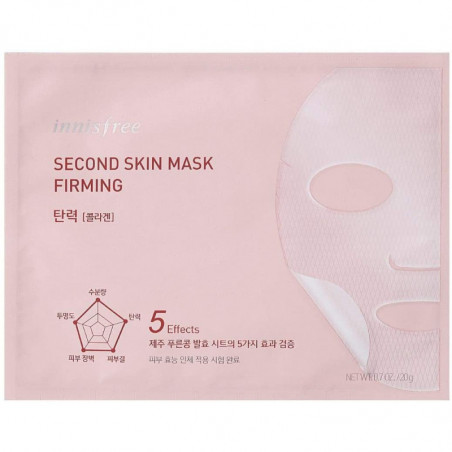 Innisfree Second Skin Mask_Firming 20g - This is 5-in-1 skin-fitting mask made of Jeju fermented soybean is enriched with moistu