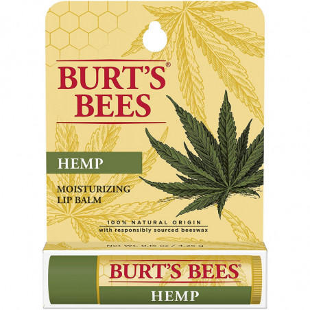Burt's Bees 100% Natural Origin Moisturizing Lip Balm, Hemp with Beeswax (1 tube) - for long-lasting moisture will keep your lip