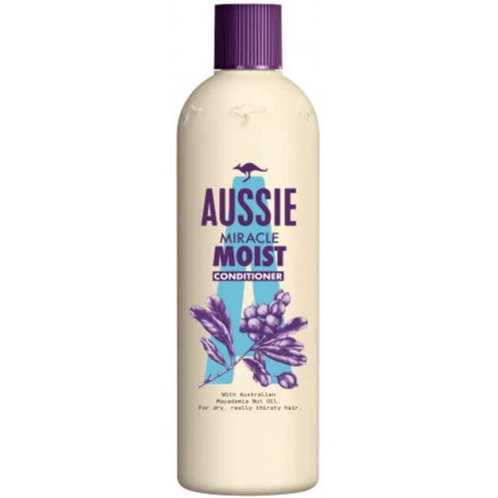 Aussie Miracle Moist Conditioner 250ml - Leaves parched hair intensely conditioned.