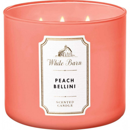 Bath And Body Works White Barn Peach Bellini Scented 3 Wick Candle 411g- Scented Candle